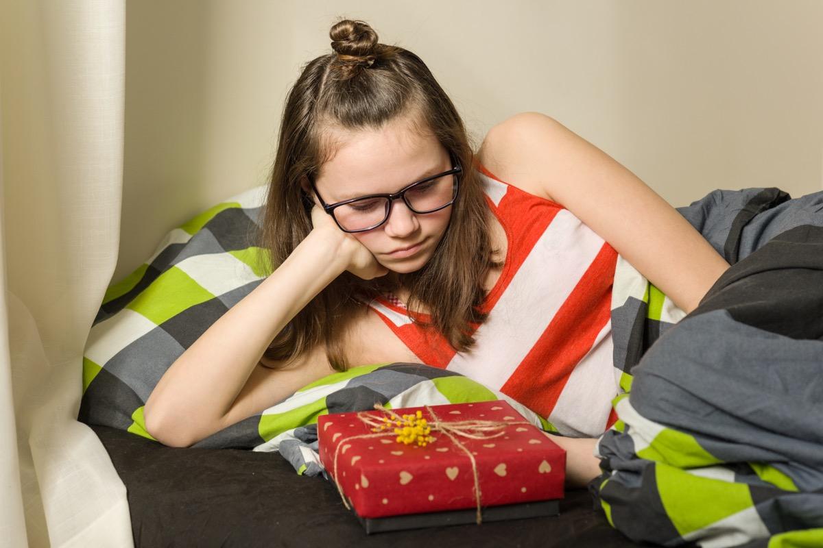 white teenage girl upset about gift