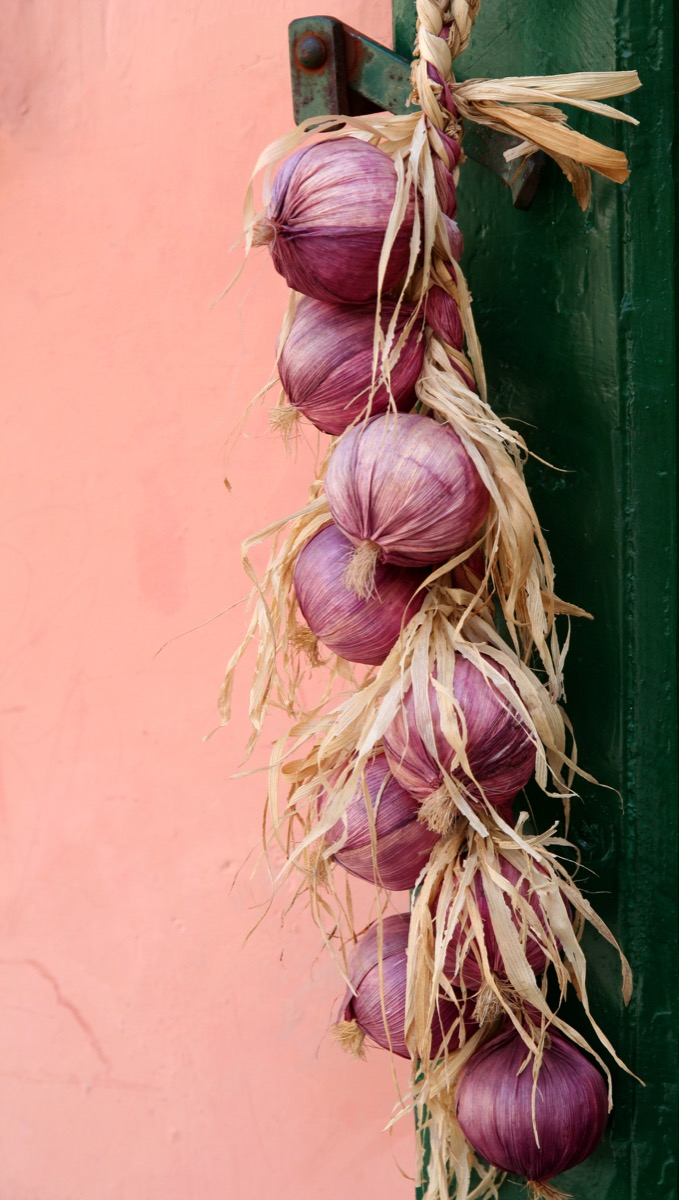 Red onions hanging from a green door