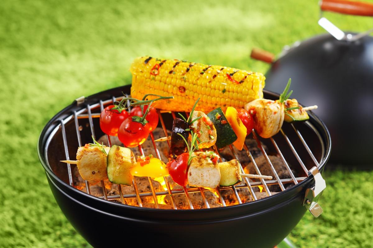 Veggies roasting on a grill