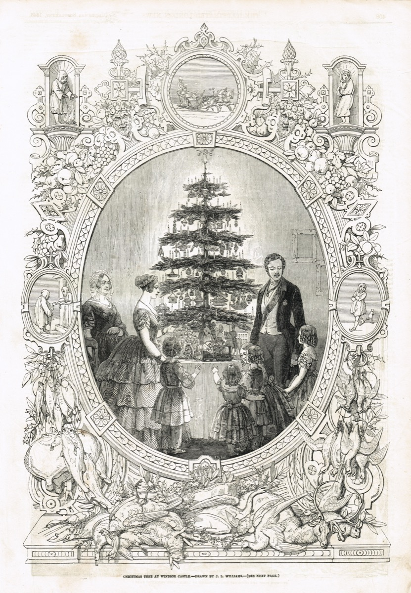 a drawing of queen victoria and royal family around a christmas tree