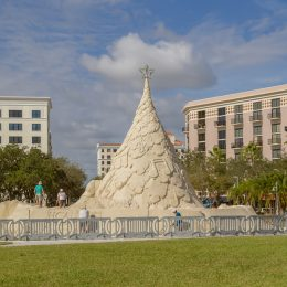 The world's only 35-foot-tall tree made from 700 tons of sand in West Palm Beach, Florida