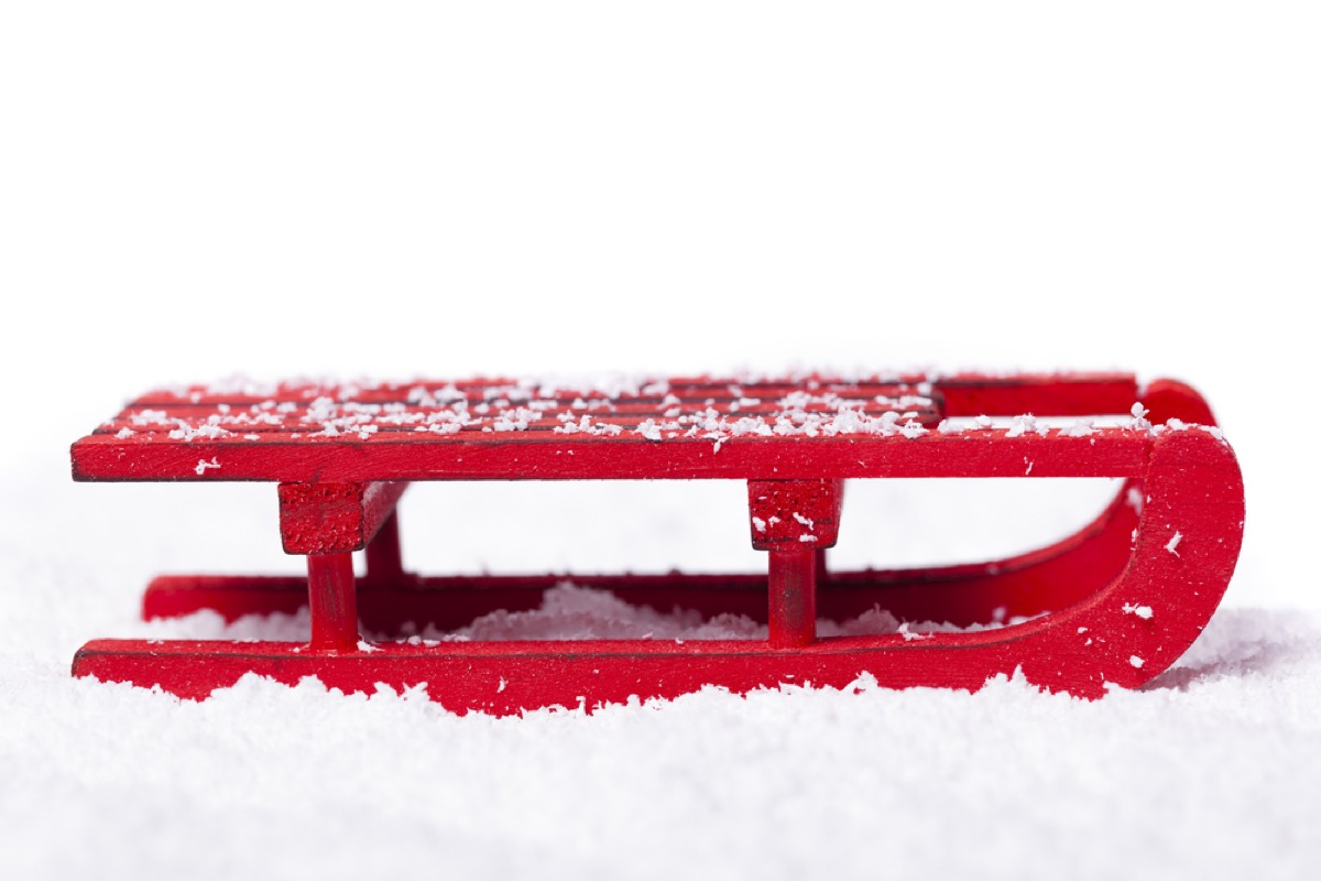 red sled on snow