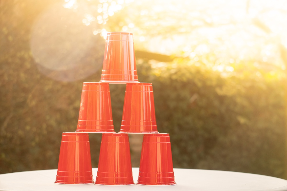 A stack of red plastic solo cups