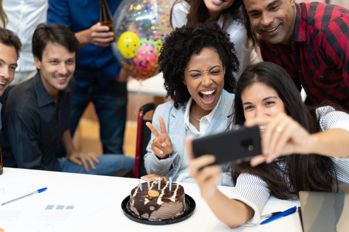 work birthday party selfie photo