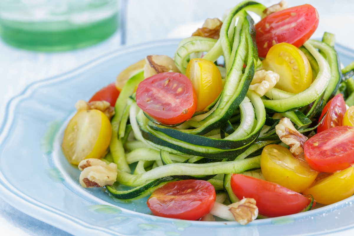 Low-Carb Meal of Zucchini Noodles with Tomatoes Weight Loss Advice