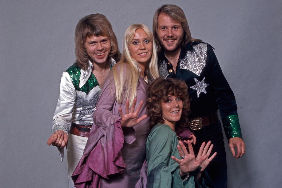Studio shot of Swedish pop group ABBA, Germany 1970s.