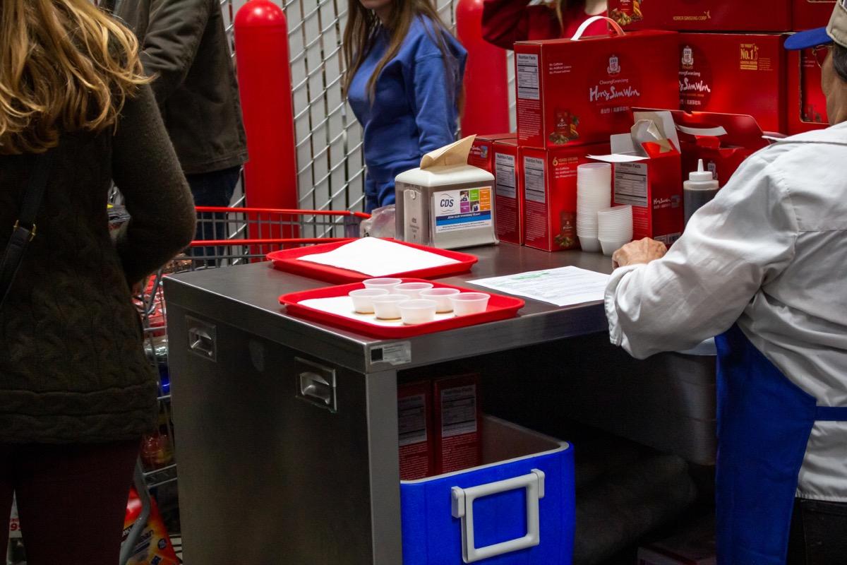 Costco free sample station
