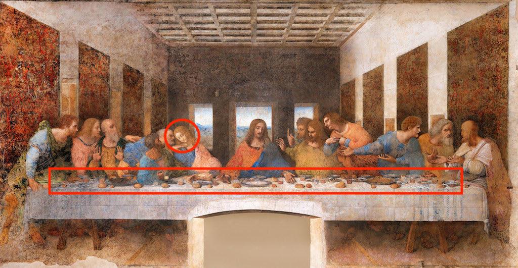 D3EA3C Leonardo da Vinci, The Last Supper 1494-98 Milan, Convent of Santa Maria delle Grazie. Tempera on gesso, pitch and mastic.