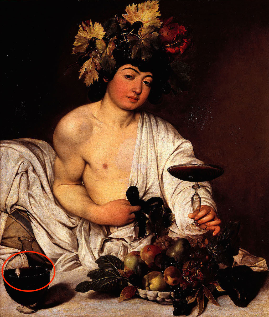 DNGT82 Caravaggio, The adolescent Bacchus 1595-1597 Oil on canvas. Uffizi Gallery, Florence, Italy.