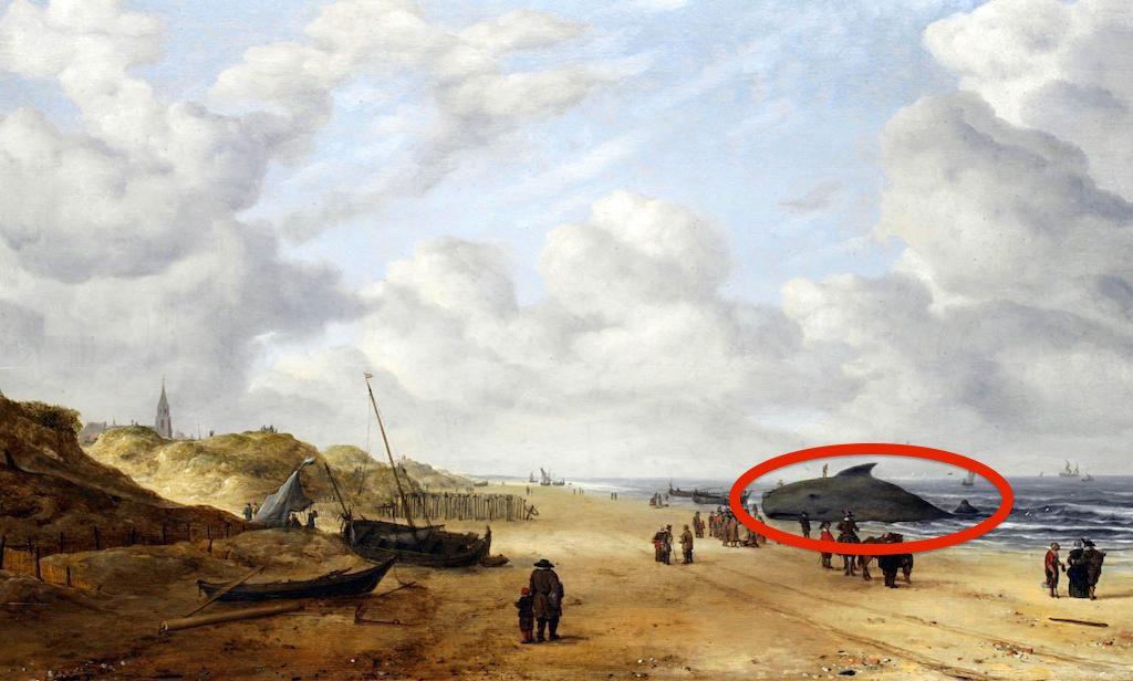 EC825B Painting titled View of Scheveningen Sands by Hendrick van Anthonissen (1605-1656) Dutch marine painter. Dated 17th Century. Image shot 1754. Exact date unknown.
