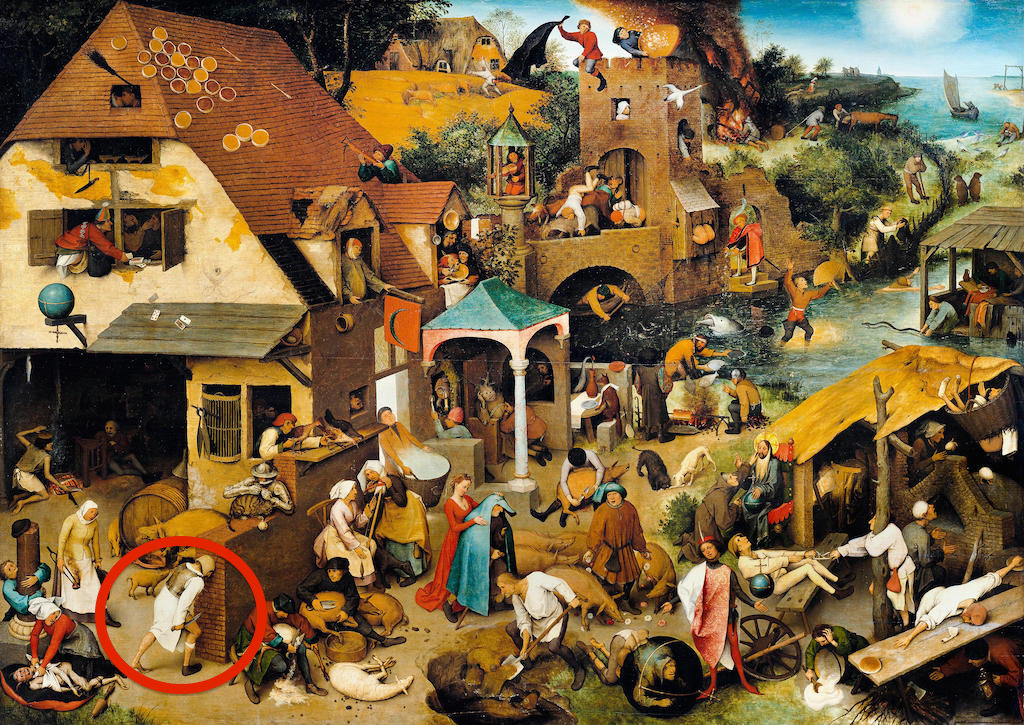 EDDDPF Pieter Brueghel the Elder, Netherlandish Proverbs (The Blue Cloak or The Topsy Turvy World) 1559 Oil on wood. Gemaldegalerie