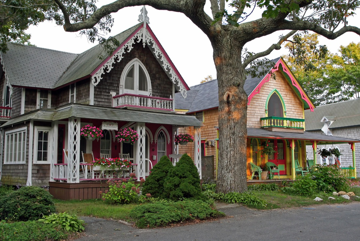 Two colorful gingerbread cottages on Martha's Vineyard.