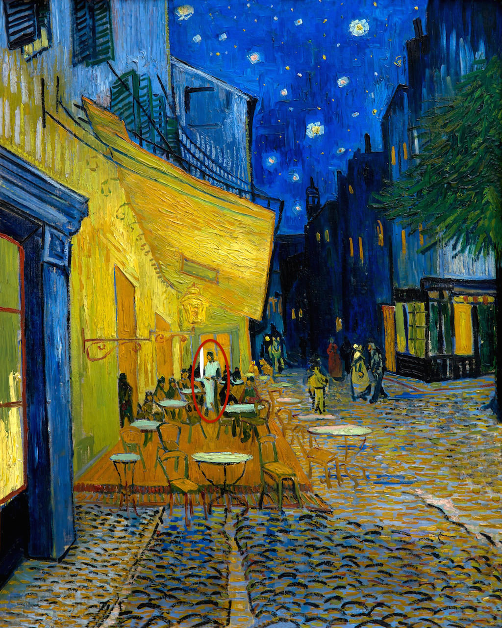 HEERX6 Terrace of a Cafe at Night, by Vincent van Gogh, 1888, Kroller-Muller Museum, Hoge Veluwe National Park, Otterlo, Netherlands, Europe