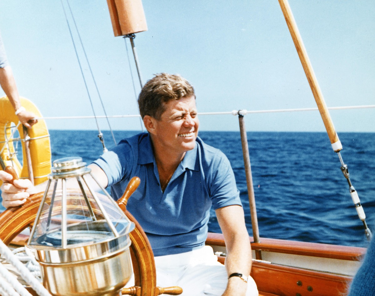John F. Kennedy on a boat