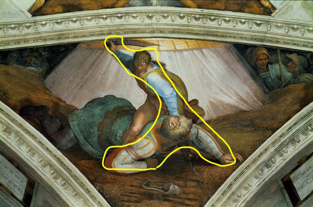 P100C6 The Sistine Chapel; ceiling frescos after restoration. David and Goliath. Author: Michelangelo (1475-1564). Location: Sistine Chapel, Vatican City, Vatican.