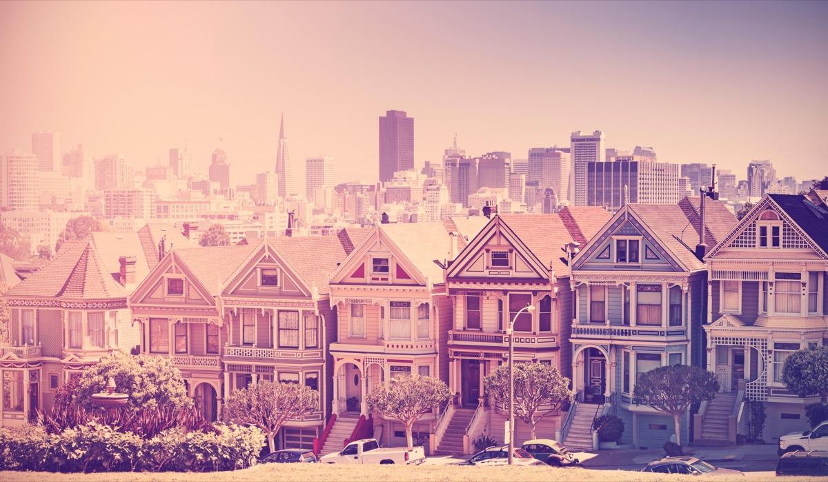 Retro vintage filtered photo of San Francisco skyline, old film style, USA.
