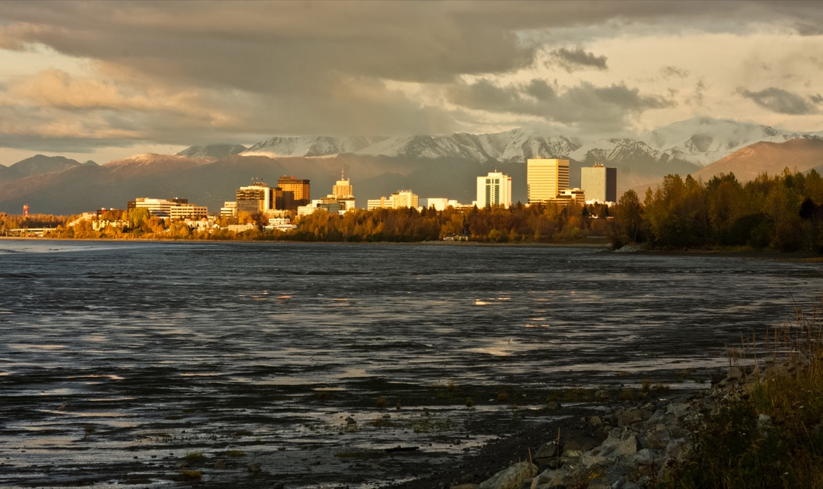the anchorage skyline at golden hour