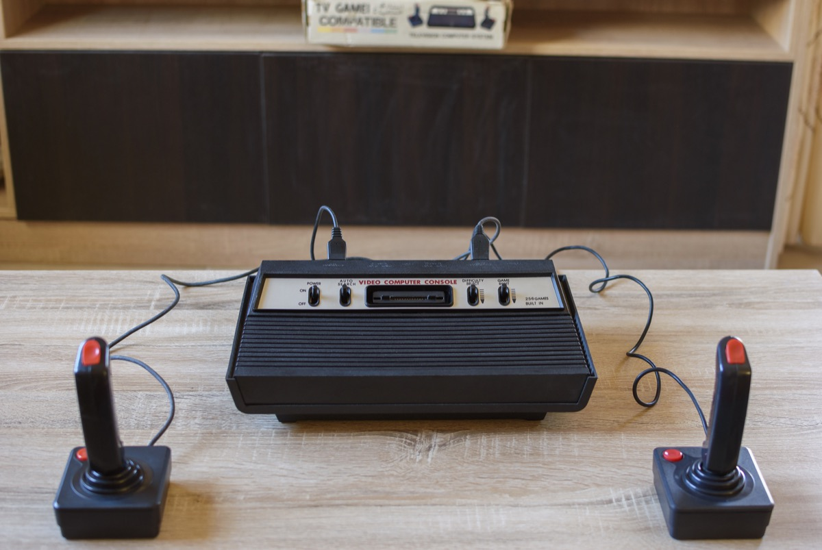 The historical Atari 2600 Video Computer System running at 1.19 MHz with 128 bytes rom. This home video game console by Atari INC has become the status symbol of retro video gaming. - Image