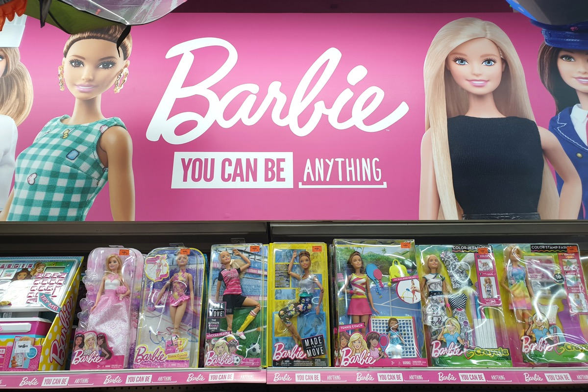 PENANG, MALAYSIA - 26 DEC, 2018: Barbie toys for girls on store shelf. Barbie is a fashion doll manufactured by the American toy-company Mattel and launched in March 1959. - Image