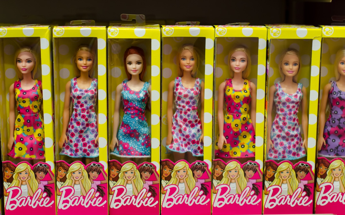 Kyiv, Ukraine - March 24, 2018: Barbie Toys for sale in the Supermarket Stand. Barbie is a fashion doll manufactured by the American toy company Mattel, Inc. and launched in March 1959. - Image