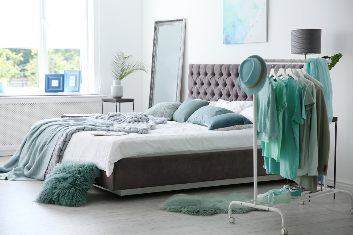 Bedroom with a Clothes Rack {No Closet Space}