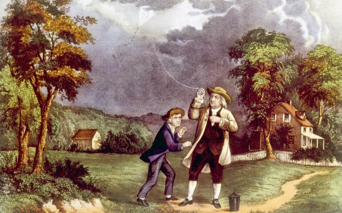 'Franklin's Experiment, June 1752,' Benjamin franklin demonstrating the identity of lightning and electricity from which he invented the lightning rod, painting by Currier & Ives, 1876 - Illustration