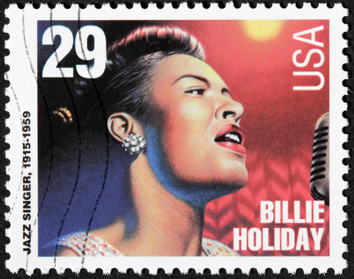 UNITED STATES - CIRCA 1994: a stamp printed by USA shows image portrait of famous American jazz singer and songwriter Billie Holiday (Eleanora Fagan), circa 1994.