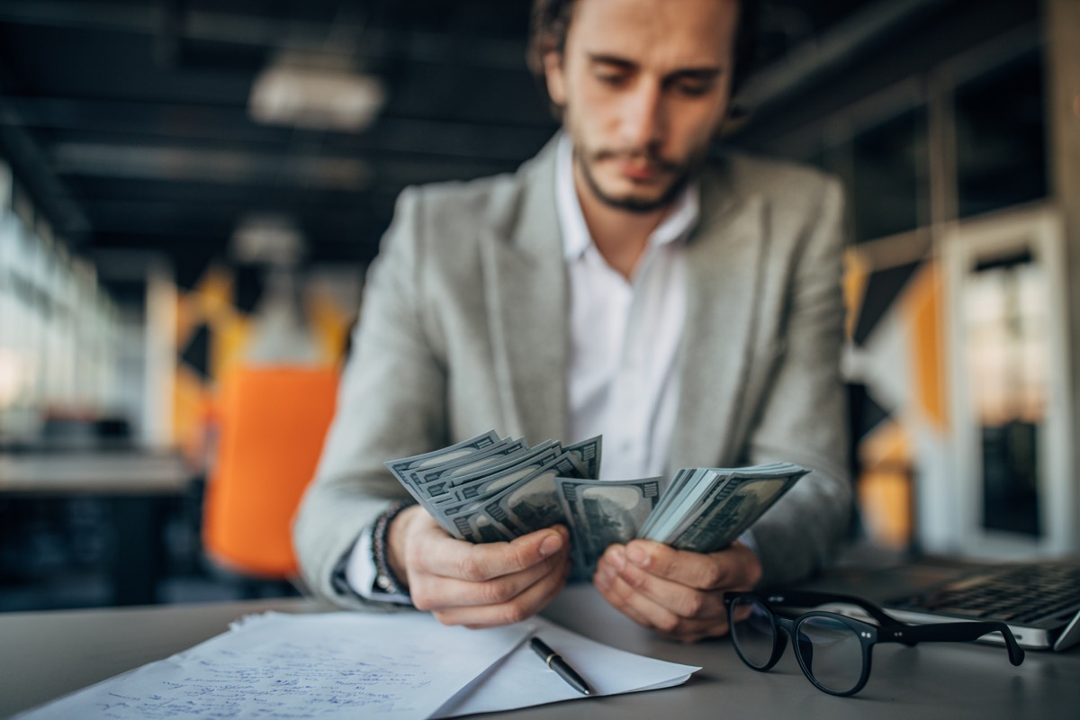businessman working and counting money