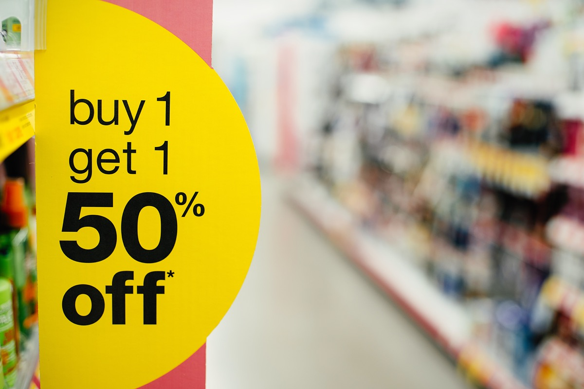 buy one get one 50 percent off sale stick in store
