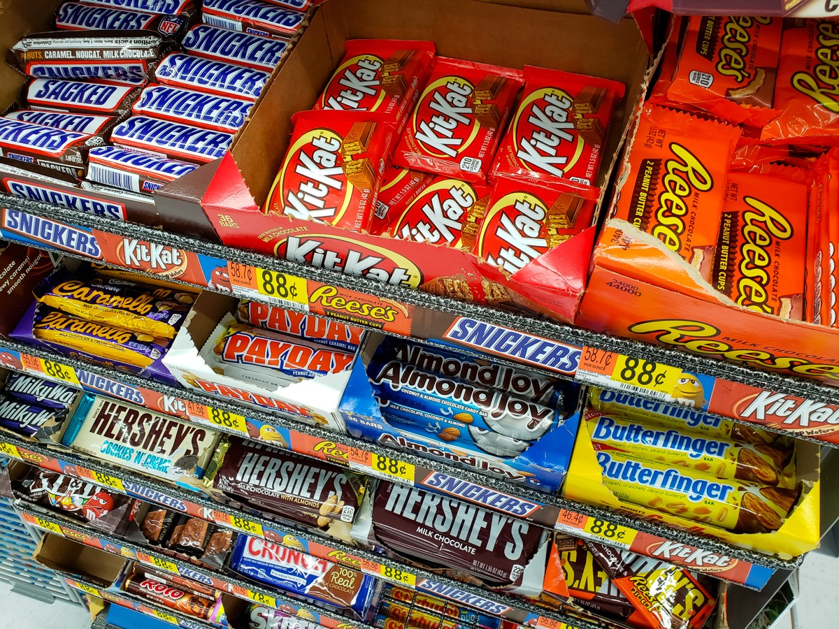 candy near checkout counter at grocery store