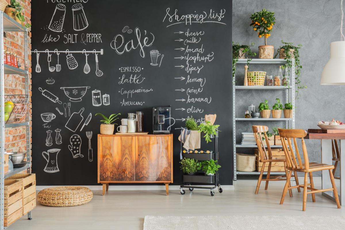 Chalkboard paint kitchen wall