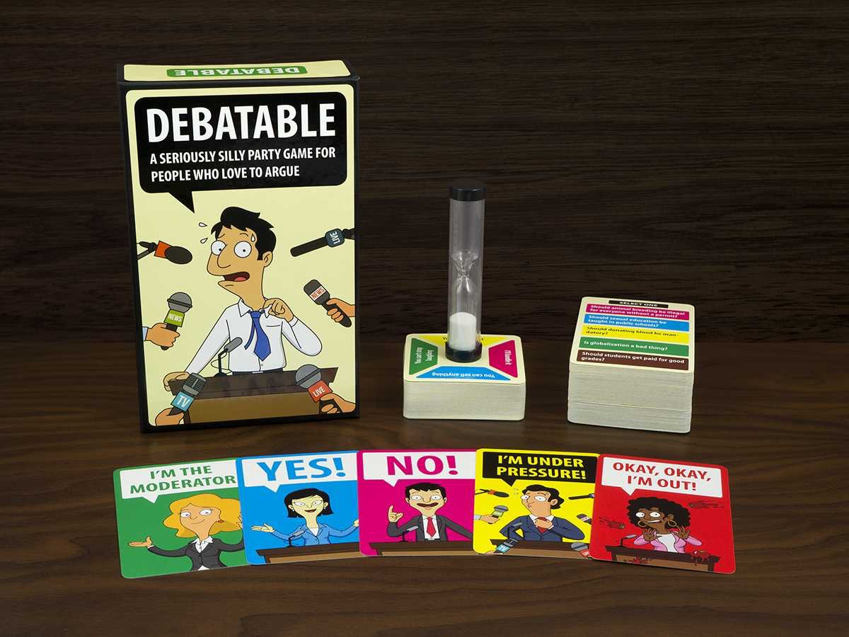 Debatable is a hilarious party game for 3 to 16 adult players, but only one can become the debate king or queen.
