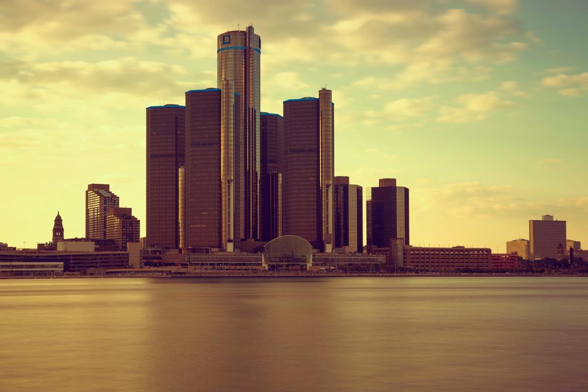 Beautiful warm sunset skyline of Detroit, USA from Windsor Ontario, Canada.