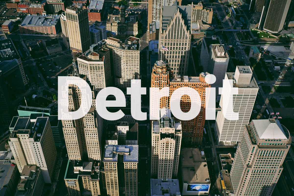 an aerial shot of downtown detroit