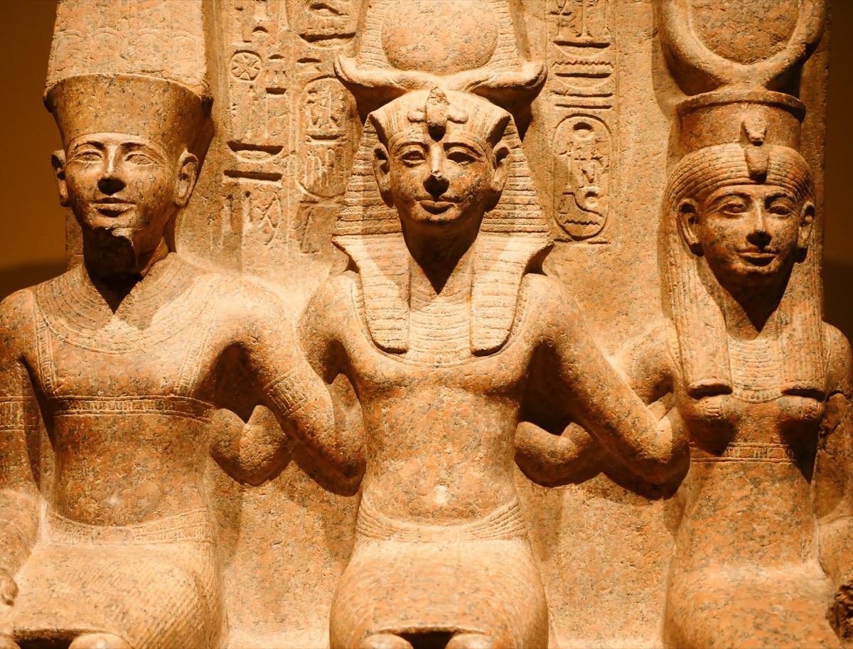 Statues of Egyptian gods Amun