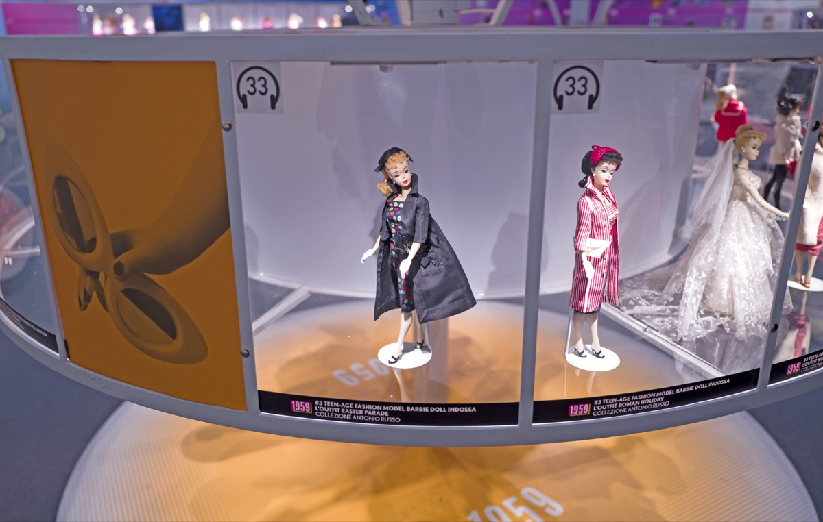 MILAN, ITALY-FEBRUARY 10, 2016: Barbie the icon exhibition, first 1959 barbie dolls series displayed at the at the new MUDEC museum, Cultures Museum, in Milan. - Image