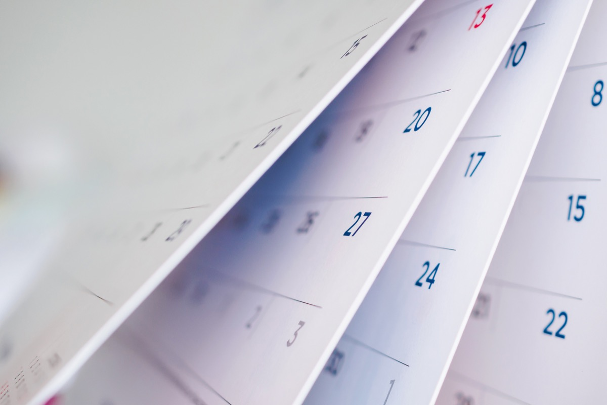 calendar page flipping sheet close up background