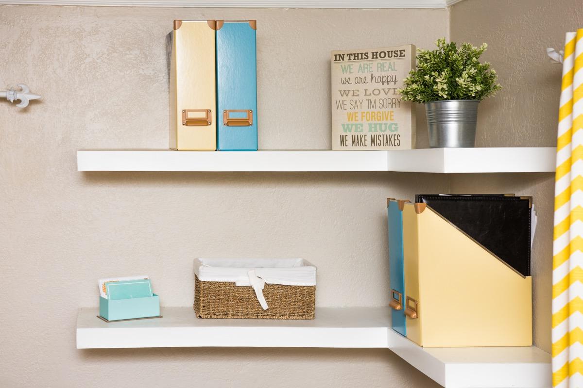 Floating shelves for office storage