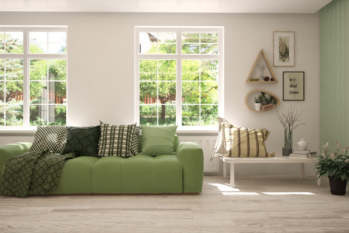 Green accented living room decor
