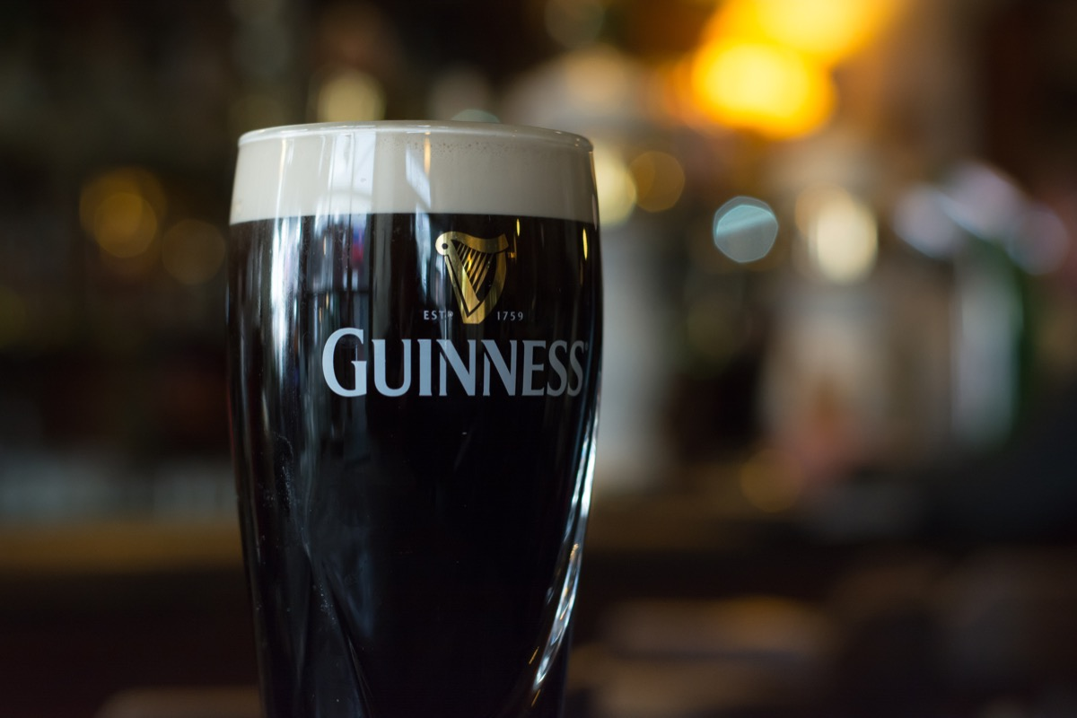 Pint of Guinness on a bar