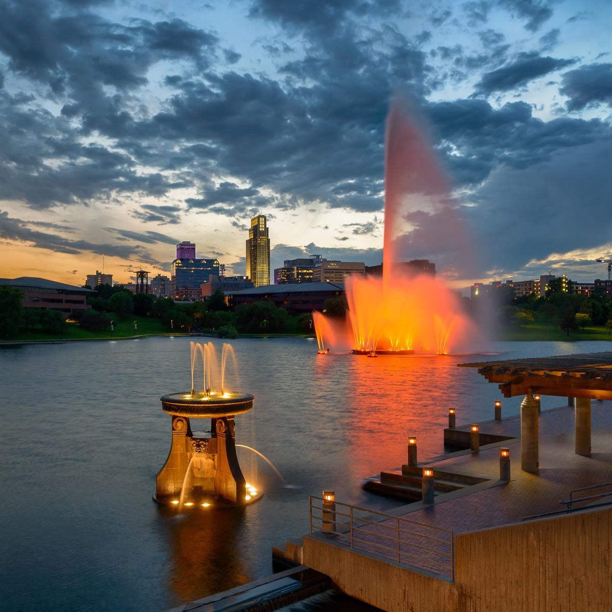 the heartland of america park and fountain in omaha nebraska