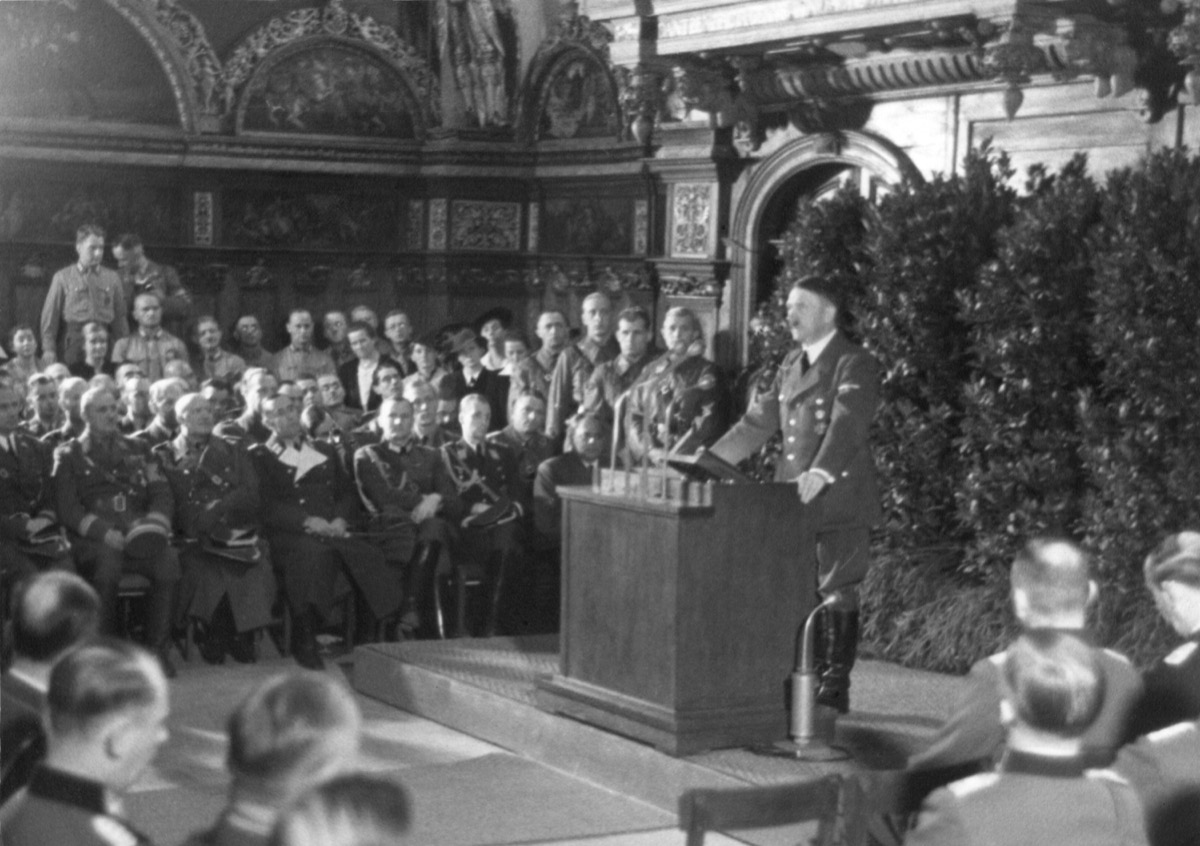 Hitler speaking in Danzig after the German invasion of Poland. He spoke to the German nation and the World from the main hall of the ancient Artus Court. World War 2. Sept. 19, 1939