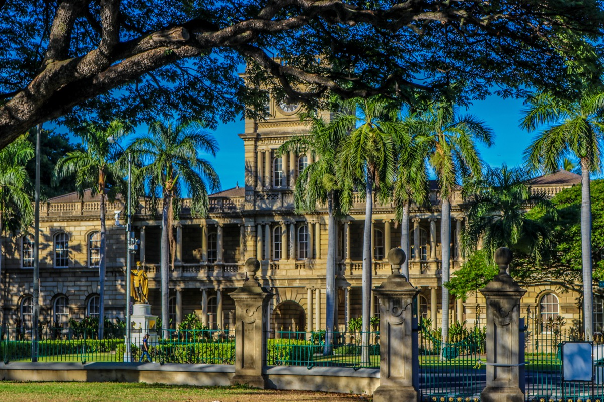 iolani Palace in downtown Honolulu, Hawaii