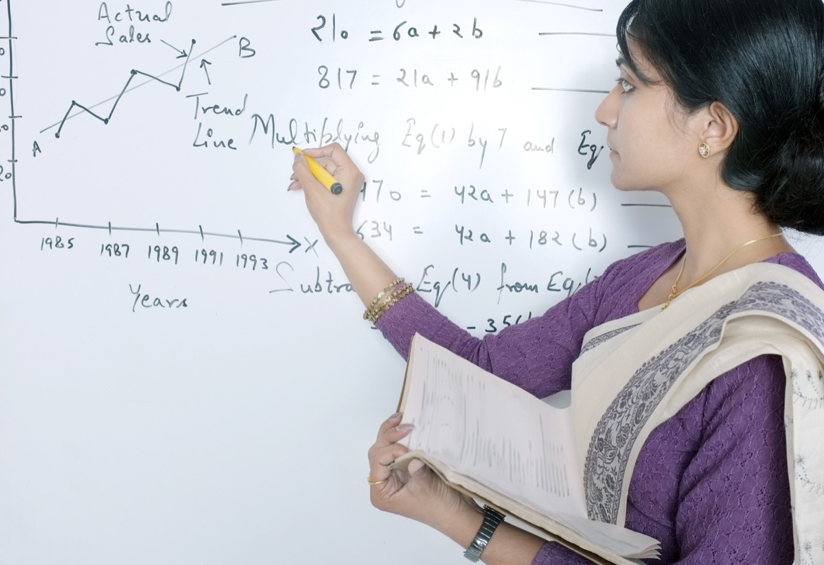 Classroom lecture by Indian instructor.