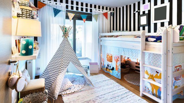 kids bedroom wooden bunk bed teepee