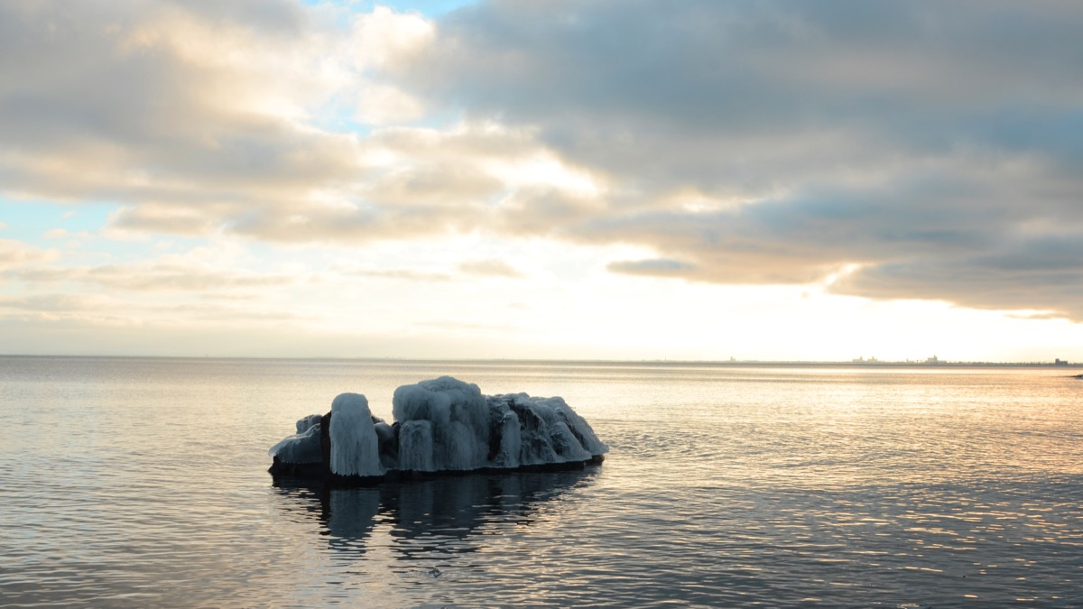 ice cap in the middle of lake superior