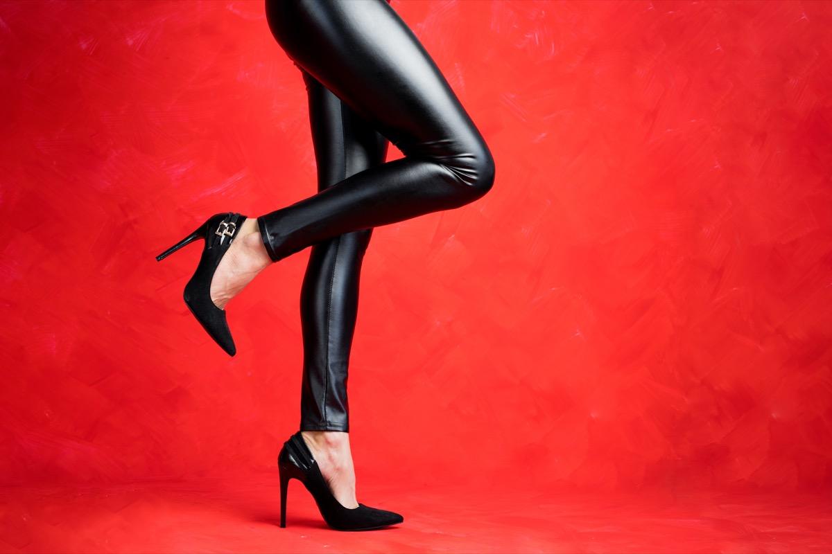 Leather leggings as pants with heels
