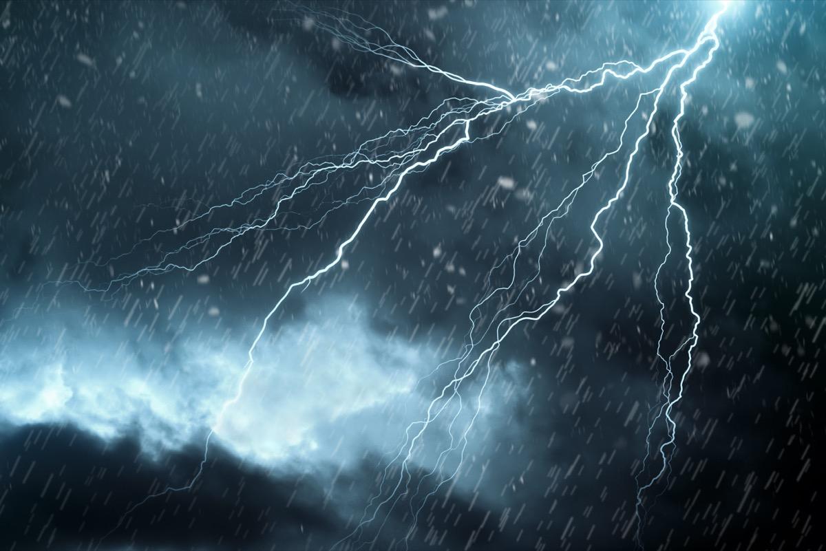 lightening rain storm