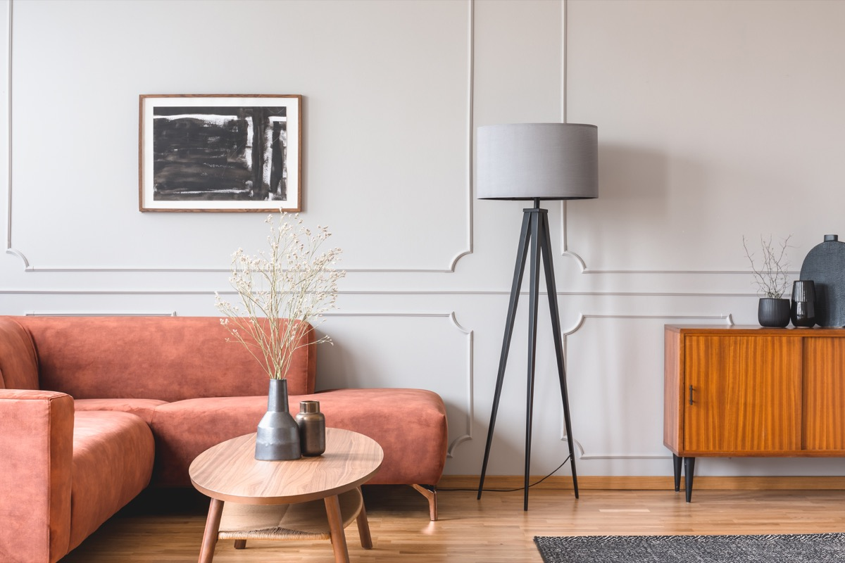 Living room with tall lamp