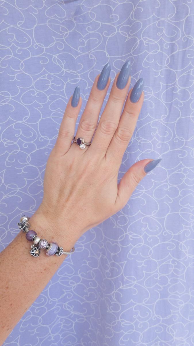 Purple long colorful nails